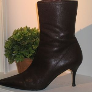 GUCCI Brown Leather Pointed Toe Ankle Boots - NEW